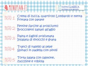 menu settimanale con ricette di cucina classica